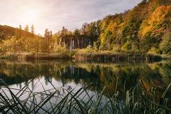 Κροατία Λίμνες Plitvice στον καταρράκτη Galovac το φθινόπωρο Στοκ εικόνες με δικαίωμα ελεύθερης χρήσης