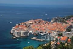 Κροατία Νότια Δαλματία Γενική άποψη Dubrovnik - το παλαιό wal στοκ εικόνες