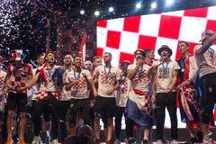 Κροατική ομάδα που έρχεται κατ' οίκον μετά από το τελικό Παγκόσμιο Κύπελλο της FIFA 2018 Στοκ εικόνα με δικαίωμα ελεύθερης χρήσης