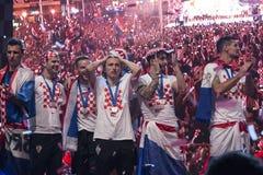 Κροατική ομάδα που έρχεται κατ' οίκον μετά από το τελικό Παγκόσμιο Κύπελλο της FIFA 2018 Στοκ Φωτογραφία