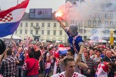 Κροατικοί οπαδοί ποδοσφαίρου Στοκ φωτογραφία με δικαίωμα ελεύθερης χρήσης