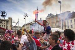 Κροατικοί οπαδοί ποδοσφαίρου Στοκ Φωτογραφίες