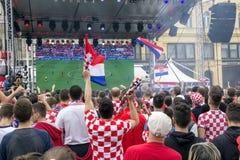 Κροατικοί οπαδοί ποδοσφαίρου Στοκ Εικόνες