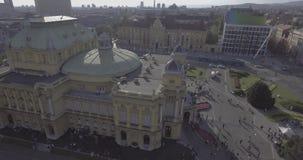 Κροατικό εθνικό θέατρο στην κεραία του Ζάγκρεμπ απόθεμα βίντεο