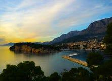 Κροατικό ηλιοβασίλεμα - Makarska στοκ εικόνες