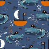 Κροκόδειλοι - πειρατές, βάρκες, ζωηρόχρωμο χαριτωμένο άνευ ραφής σχέδιο Διακοσμητικό υπόβαθρο με τα ζώα διανυσματική απεικόνιση