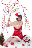 Κροτίδα Χριστουγέννων κοριτσιών στοκ φωτογραφίες με δικαίωμα ελεύθερης χρήσης