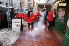 Κροτίδες πυρκαγιάς και κόκκινο λιοντάρι Στοκ φωτογραφίες με δικαίωμα ελεύθερης χρήσης