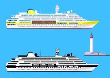Κρουαζιερόπλοια και φάρος, που απομονώνονται σε μπλε, διάνυσμα Στοκ Εικόνα