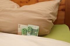 Κρυμμένα ευρο- χρήματα στο κρεβάτι κάτω από το μαξιλάρι στοκ εικόνες με δικαίωμα ελεύθερης χρήσης
