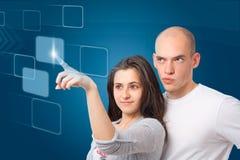 Κρότος σε μια εικονική διαπροσωπεία οθόνης αφής στοκ φωτογραφία