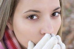 κρύα γυναίκα Στοκ Εικόνες