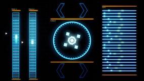 Κρύα μπλε φουτουριστική διεπαφή ενός σύγχρονου προγράμματος υπολογιστών, λεπτομερές αφηρημένο υπόβαθρο : Κινούμενοι δείκτες διανυσματική απεικόνιση