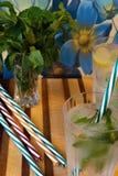 Κρύα ποτά με το λεμόνι και τη μέντα και τα ριγωτά άχυρα Στοκ Φωτογραφίες