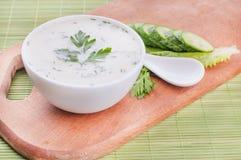Κρύα σούπα αγγουριών με τις φέτες του αγγουριού Στοκ Φωτογραφία