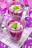 Κρύα σούπα βακκινίων με τα ζυμαρικά Στοκ Φωτογραφία
