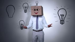 Κρύβοντας κεφάλι επιχειρηματιών με το ευτυχές κιβώτιο διανυσματική απεικόνιση