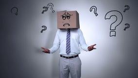 Κρύβοντας κεφάλι επιχειρηματιών με το λυπημένο κιβώτιο απεικόνιση αποθεμάτων