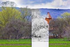 Κρύος χειμώνας και καυτό καλοκαίρι σε μια φωτογραφία στοκ φωτογραφίες με δικαίωμα ελεύθερης χρήσης