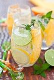 Κρύο ποτό με τα λεμόνια και τα πορτοκάλια Στοκ Φωτογραφίες