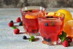 Κρύο ποτό μούρων με το λεμόνι και τη μέντα Στοκ Εικόνα