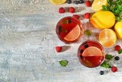 Κρύο ποτό μούρων με το λεμόνι και τη μέντα Στοκ φωτογραφία με δικαίωμα ελεύθερης χρήσης