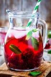 Κρύο ποτό φρούτων με το βατόμουρο και τη μέντα Στοκ Φωτογραφίες