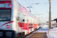 Κρύο πρωί στο σταθμό τρένου Kaunas Στοκ Εικόνες
