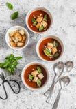Κρύο gazpacho σούπας ντοματών με croutons και βασιλικός σε ένα ελαφρύ υπόβαθρο Στοκ Φωτογραφία