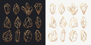 Κρύσταλλα ή μεταλλεύματα, διαμάντι και περίληψη πολύτιμων λίθων Στοκ Εικόνες