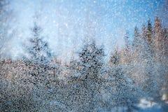 Κρύσταλλα πάγου παγετού παραθύρων στο παγωμένο γυαλί στοκ εικόνες