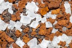 Κρύσταλλα ζάχαρης στον καφέ και το τσάι Στοκ Φωτογραφίες