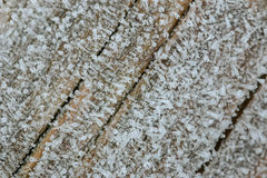 Κρύσταλλα πάγου που διαμορφώνουν στην ξύλινη επιφάνεια το πρωί Στοκ Φωτογραφία