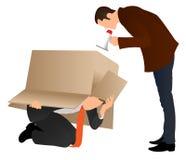 Προβλήματα στην εργασία Κρύψιμο επιχειρηματιών κάτω από το κουτί από χαρτόνι Κύρια κραυγή με megaphone E Κύριο να φωνάξει ελεύθερη απεικόνιση δικαιώματος