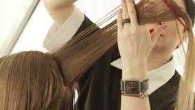 Κτένισμα Hairstylist και τρίχα γυναικών κοπής με το επαγγελματικό ψαλίδι hairdressing στο σαλόνι Κλείστε επάνω την παραγωγή κομμω φιλμ μικρού μήκους