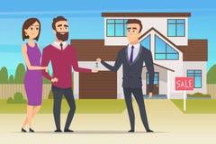 κτήμα έννοιας πραγματικό Το καινούργιο σπίτι αγοράς οικογενειακών ζευγών ή ο μεγάλος διευθυντής πωλήσεων διαμερισμάτων παραδίδει  διανυσματική απεικόνιση