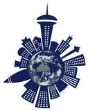 Κτήρια και κόσμος που απομονώνονται Στοκ εικόνα με δικαίωμα ελεύθερης χρήσης