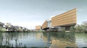 Κτήρια κατά μήκος του ποταμού Στοκ εικόνα με δικαίωμα ελεύθερης χρήσης