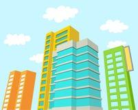 Κτήρια με το μπλε ουρανό και τα σύννεφα απεικόνιση αποθεμάτων