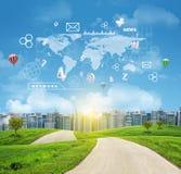 Κτήρια, πράσινοι λόφοι, δρόμος Παγκόσμιος χάρτης, hexagons Στοκ εικόνα με δικαίωμα ελεύθερης χρήσης