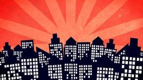 Κτήρια πόλεων κινούμενων σχεδίων Στοκ Εικόνες