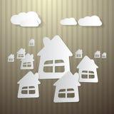 Κτήρια, σπίτια και σύννεφα Απεικόνιση αποθεμάτων