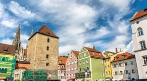 Κτήρια στην παλαιά πόλη του Ρέγκενσμπουργκ, Γερμανία στοκ φωτογραφία
