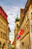 Κτήρια στο ιστορικό κέντρο Λουκέρνης - την Ελβετία Στοκ Εικόνες