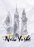 Κτήρια της Νέας Υόρκης Watercolor Στοκ Εικόνες