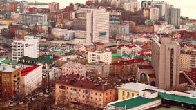 Κτήρια της πόλης του Βλαδιβοστόκ απόθεμα βίντεο