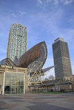 Κτήρια των ολυμπιακών τεχνών του χωριού ξενοδοχείων και του πύργου Mapfre, που χτίζονται για τους θερινούς Ολυμπιακούς Αγώνες 199 Στοκ φωτογραφίες με δικαίωμα ελεύθερης χρήσης