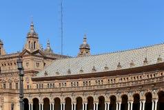 Κτήρια Famous Plaza de Espana (ήταν ο τόπος συναντήσεως για τη λατινοαμερικάνικη έκθεση του 1929) - ισπανικό τετράγωνο στη Σεβίλη Στοκ Εικόνες