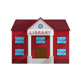 Κτήριο βιβλιοθήκης στο επίπεδο ύφος που απομονώνεται στο άσπρο υπόβαθρο Στοκ εικόνες με δικαίωμα ελεύθερης χρήσης
