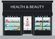 Κτήριο και εσωτερικό καταστημάτων καλλυντικών με τα προϊόντα στα ράφια Στοκ φωτογραφία με δικαίωμα ελεύθερης χρήσης